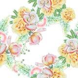 与花的明亮的无缝的样式 叶子 罗斯 额嘴装饰飞行例证图象其纸部分燕子水彩 库存照片