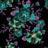 与花的明亮的无缝的样式 牡丹 喇叭花 额嘴装饰飞行例证图象其纸部分燕子水彩 免版税图库摄影