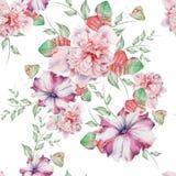 与花的明亮的无缝的样式 牡丹 喇叭花 额嘴装饰飞行例证图象其纸部分燕子水彩 免版税库存照片
