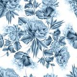 与花的明亮的无缝的样式 罗斯 喇叭花 风信花 多汁 额嘴装饰飞行例证图象其纸部分燕子水彩 免版税库存图片