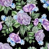 与花的明亮的无缝的样式 罗斯 喇叭花 风信花 多汁 额嘴装饰飞行例证图象其纸部分燕子水彩 免版税图库摄影