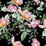 与花的明亮的无缝的样式 罗斯 额嘴装饰飞行例证图象其纸部分燕子水彩 库存图片