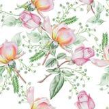 与花的明亮的无缝的样式 罗斯 额嘴装饰飞行例证图象其纸部分燕子水彩 免版税库存图片