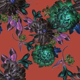 与花的明亮的无缝的样式 额嘴装饰飞行例证图象其纸部分燕子水彩 菊花 牡丹 免版税库存图片