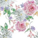 与花的明亮的无缝的样式 额嘴装饰飞行例证图象其纸部分燕子水彩 菊花 牡丹 库存照片