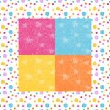 与花的明亮的班丹纳花绸印刷品在小点框架的五颜六色的背景 库存图片