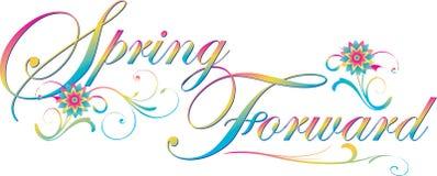 与花的春天向前文本横幅 免版税库存图片
