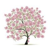 与花的春天树您的设计的 库存图片