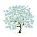 与花的春天树您的设计的 免版税图库摄影