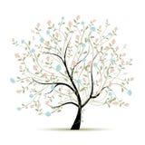 与花的春天树您的设计的 免版税库存照片