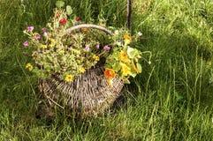 与花的柳条筐 库存照片
