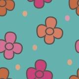与花的样式在米黄背景1 库存照片