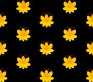 与花的样式在黑blackground 皇族释放例证