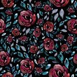 与花的样式,水彩,纹理,纺织品 免版税库存图片