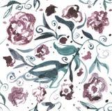 与花的样式,水彩,纹理,纺织品 库存图片