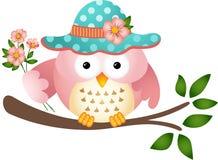 与花的桃红色猫头鹰 免版税图库摄影