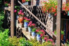 与花的楼梯在罐 免版税库存照片