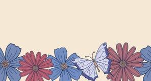 与花的水平的无缝的背景 皇族释放例证