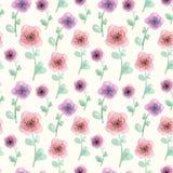 与花的水彩手拉的无缝的样式 免版税图库摄影