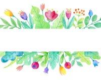 与花的水彩花卉背景 库存例证