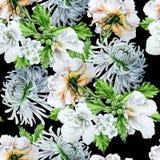 与花的水彩花束 Hrysanthemum 冬葵 罗斯 额嘴装饰飞行例证图象其纸部分燕子水彩 免版税图库摄影