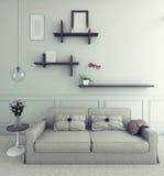 与花的沙发 免版税库存照片