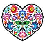 与花的波兰民间艺术艺术心脏刺绣- wzory lowickiee 库存图片