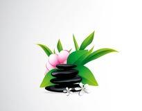 与花的温泉石头 图库摄影