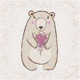 与花的熊 免版税库存图片