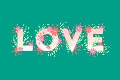 与花的爱标志 免版税库存照片