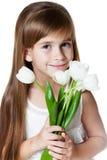 与花的白种人女孩孩子 库存图片