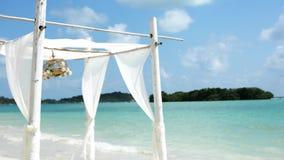 与花的眺望台在海滩 婚姻 影视素材