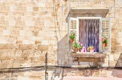与花的窗口在一个白色石墙的背景特点建筑学在克罗地亚 免版税图库摄影