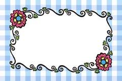 与花的简单的长方形色的被绘的传染媒介框架和 免版税库存照片