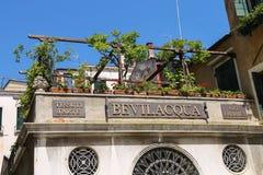 与花的美丽如画的大厦在大阳台 意大利威尼斯 免版税图库摄影