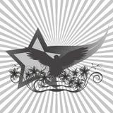 与花的老鹰背景在星背景  免版税库存图片