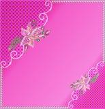 与花的背景框架由宝石做成和 库存照片