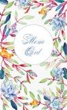 与花的背景 水彩蓝色多汁植物 免版税库存图片