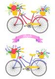 与花的自行车 库存照片