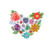 与花的花卉心脏 向量, EPS 10 图库摄影