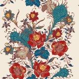 与花的花卉无缝的传染媒介墙纸样式在葡萄酒 库存照片