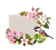 与花的花卉样式和葡萄酒的俏丽的鸟设计 减速火箭的卡片的水彩 免版税图库摄影