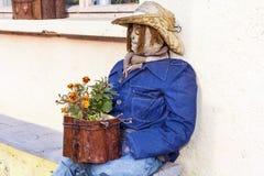 与花的装饰坐的稻草人 图库摄影