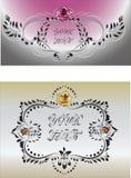 与花的装饰框架在葡萄酒样式上升了 库存照片