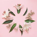 与花的装饰舱内甲板位置构成 平的位置,在桃红色背景的顶视图 免版税库存照片