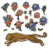 与花的豹子 传染媒介纺织品设计的刺绣补丁 库存照片