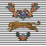 与花的豹子 传染媒介纺织品设计的刺绣补丁 库存图片