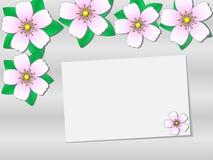 与花的贺卡模板在纸片附近,庆祝的邀请模板 库存例证