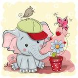 与花的逗人喜爱的动画片大象 向量例证