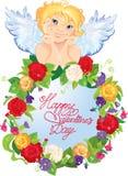 与花的逗人喜爱的天使。情人节卡片desig 免版税库存图片